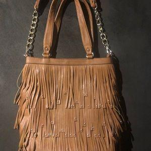 Boho fringe purse with gold studs